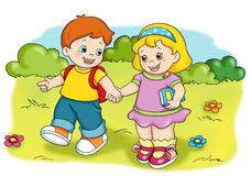Happy children. Colored illustration of two happy children Royalty Free Stock Photo