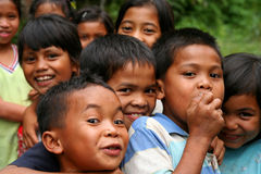 Happy village children stock image