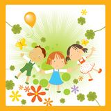 Happy Children. Vector illustration of three happy kids holding hands, enjoying nature flowers and butterflies Stock Photos