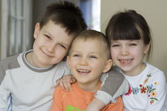 Happy children. Together at home stock photo