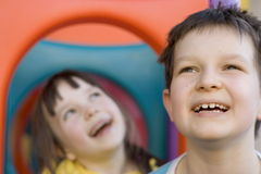 Happy children. Children on a playground Royalty Free Stock Photos
