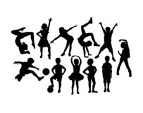 Happy Children Activity Silhouettes royalty free stock photo