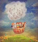 Happy children in the   air balloon in the sky Stock Photos