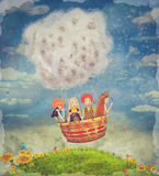 Happy children in the   air balloon in the sky - illustration art Royalty Free Stock Image