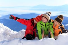 Happy children in Alps Stock Photos