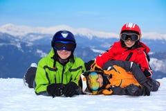 Happy children in Alps Stock Photos