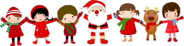 Happy Children And Santa Stock Images