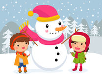 Free Happy Children And Snowman. Royalty Free Stock Photography - 85668767