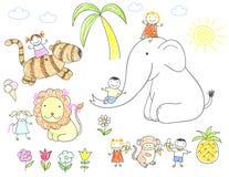 Happy children and animals Royalty Free Illustration