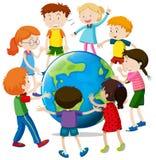 Happy children around the world. Illustration Stock Photo