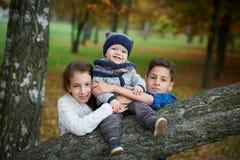 Happy children in autumn park Stock Photo