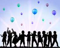 Happy children with balloons Royalty Free Stock Photography