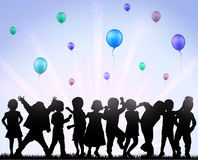 Happy children with balloons Royalty Free Stock Photos
