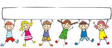 Happy children and banner, group of cheerful kids. On white background, vector funny illustration. Colored creative illustration. Funny clipart stock illustration