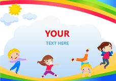 Happy children and banner Stock Photography