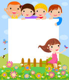 Happy children and banner Royalty Free Stock Images