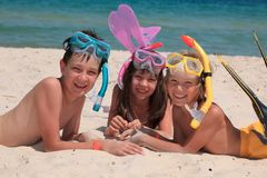 Happy children on beach Stock Photo
