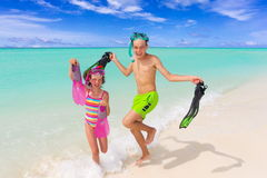Happy children on beach Royalty Free Stock Photos