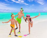 Happy children on beach Stock Images