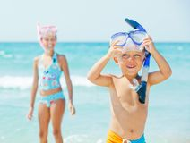 Happy children on beach Stock Photos