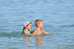 Happy children at the beach. Kids,love Royalty Free Stock Photo