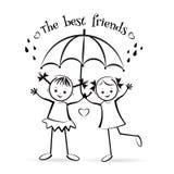 Happy children. The best friends. Stock Image