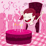 Happy children with birthday cake on a striped bac. Birthday parties can be used in drawing Stock Photo