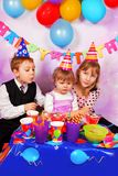 Happy children on birthday party Royalty Free Stock Photos