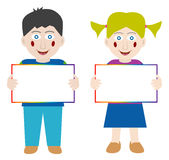 Happy children with blank banner. Happy boy and girl holding blank banner for your text. EPS file available Stock Photos