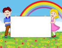 Happy children with blank sign Royalty Free Stock Image