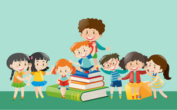 Happy children with books. Illustration Royalty Free Stock Photography