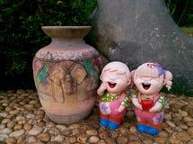 Happy Children boy Decorative garden withe Stock Photos