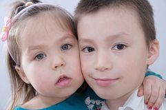 Happy children. Boy and girl portrait. Children close up faces royalty free stock photography