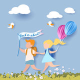 Happy children boy and girl run back to school. With balloons and flag. Paper cut design Vector illustration Royalty Free Stock Photos