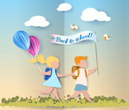 Happy children boy and girl run back to school. With balloons and flag. Paper cut design Vector illustration Royalty Free Stock Photography