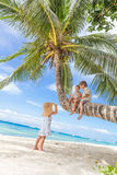 Happy children - boy and girls - on palm tree, tropical Royalty Free Stock Photos