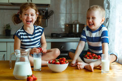 Happy children brother and sister eating strawberries with milk. Happy children girl and boy brother and sister eating strawberries with milk royalty free stock images
