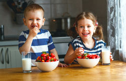 Happy children brother and sister eating strawberries with milk Stock Photos