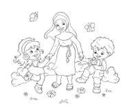 Happy children - BW royalty free illustration