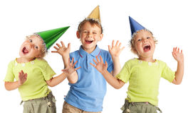 Happy children in the cap Stock Photography