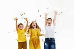 Happy children on carnival party. stock images