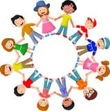 Happy children cartoon different races Stock Images