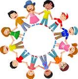 Happy children cartoon different races Stock Images