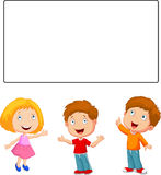 Happy children cartoon looking and pointing to blank banner vector illustration