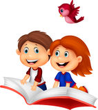 Happy Children cartoon riding book Stock Image