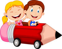 Happy children cartoon riding pencil car Royalty Free Stock Photo