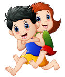 Happy children cartoon running Stock Images
