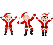 Happy children cartoon in Santa Costume Royalty Free Stock Image