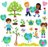 Happy children celebrate Earth Day.Ecology elements. Stock Photo