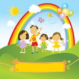 Happy children celebrating vector illustration